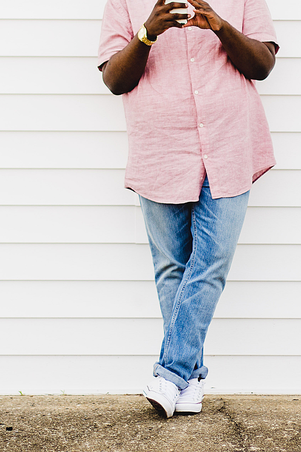 Mens Pink Mandarin / Band Collar Shirt + Light Denim + Chuck Taylors | Mens Style Blog | Body Positive Style | Greenville NC Photographer | Bryant Tyson Photography | www.memoriesbybryant.com