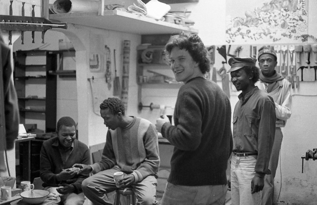 Teatime at the Kwangoma instrument workshop that Phillip initiated in Cape Town (c.1988). Left to right: Ken, Vukhile, Justin, Zolani, Kholeho.
