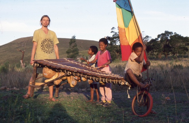 David Tomsu with a mobile pre-Rainbow Nation valimba. He performs on Phillip's track Chamutengure Live (click image to listen).