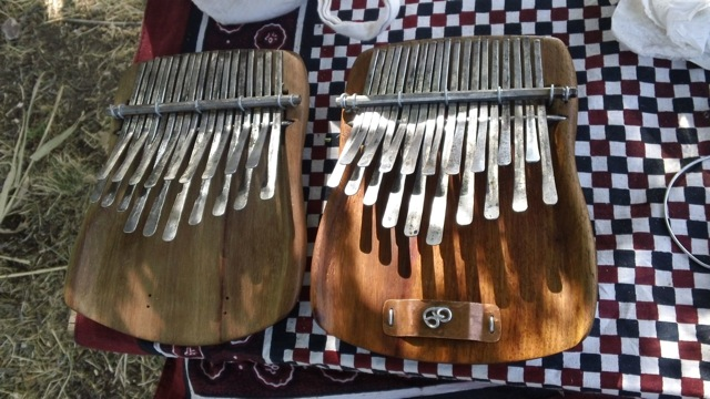 """Two of the many Karimbas Phillip has made. Note the """"19 reeds"""" he talks about later."""
