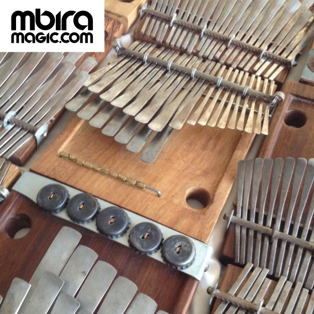 Thanks to Rodrigo Laje (Argentina) for the beautiful mbira used in nearly all the accompanying recordings (pictured centre - G Nyamaropa tuning - close to C Major). Sebastian Pott (Germany) made the Gandanga/Mavembe tuned mbira played on the final track. This 'Village' tuning was developed in partnership with Chartwell Dutiro to match early recordings of musicians in his family/village.