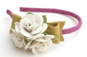 plum and mustard rose bunch headband