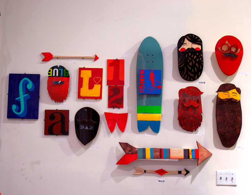recycled skateboard beards