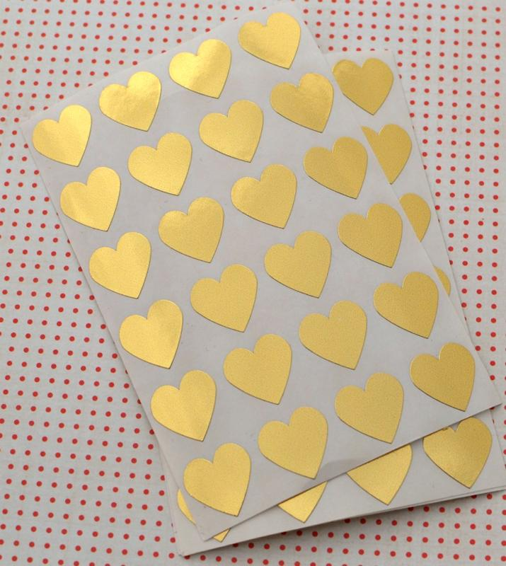 stickers gold hearts