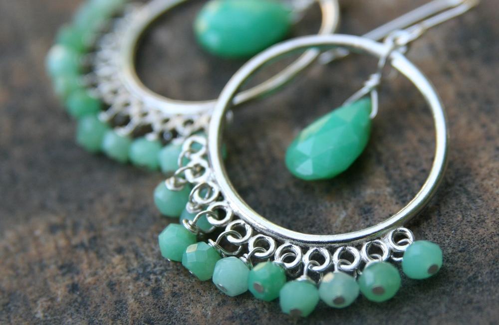 chrysoprase chandelier earring3