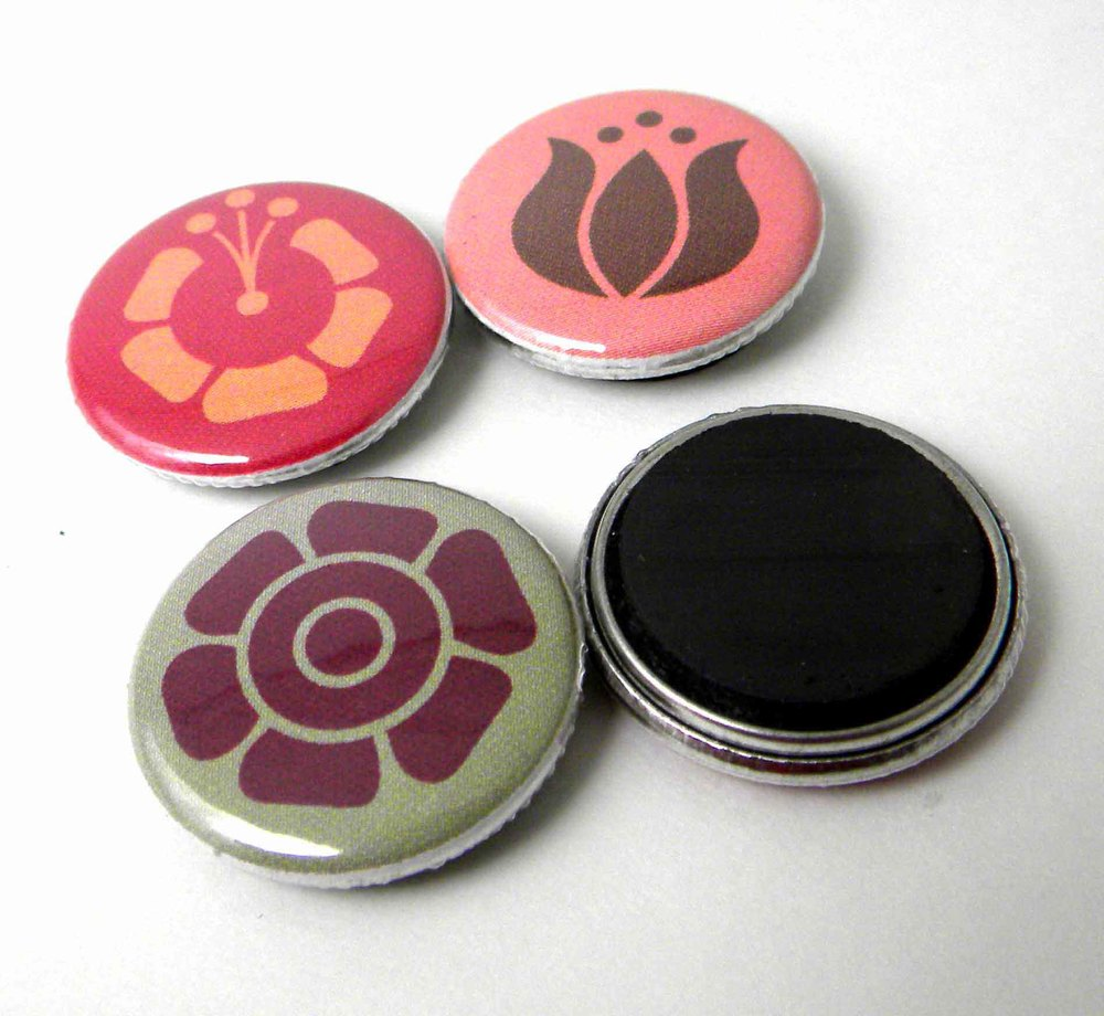 magnets, buttons and badges