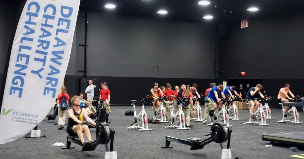 Teams and individuals competed in the Delaware Charity Challenge Winter Indoor Triathlon, which consisted of a 15 minute race on a treadmill, a 15 minute bike race on a spin bike, and a 15 minute row/erg on a rowing machine.