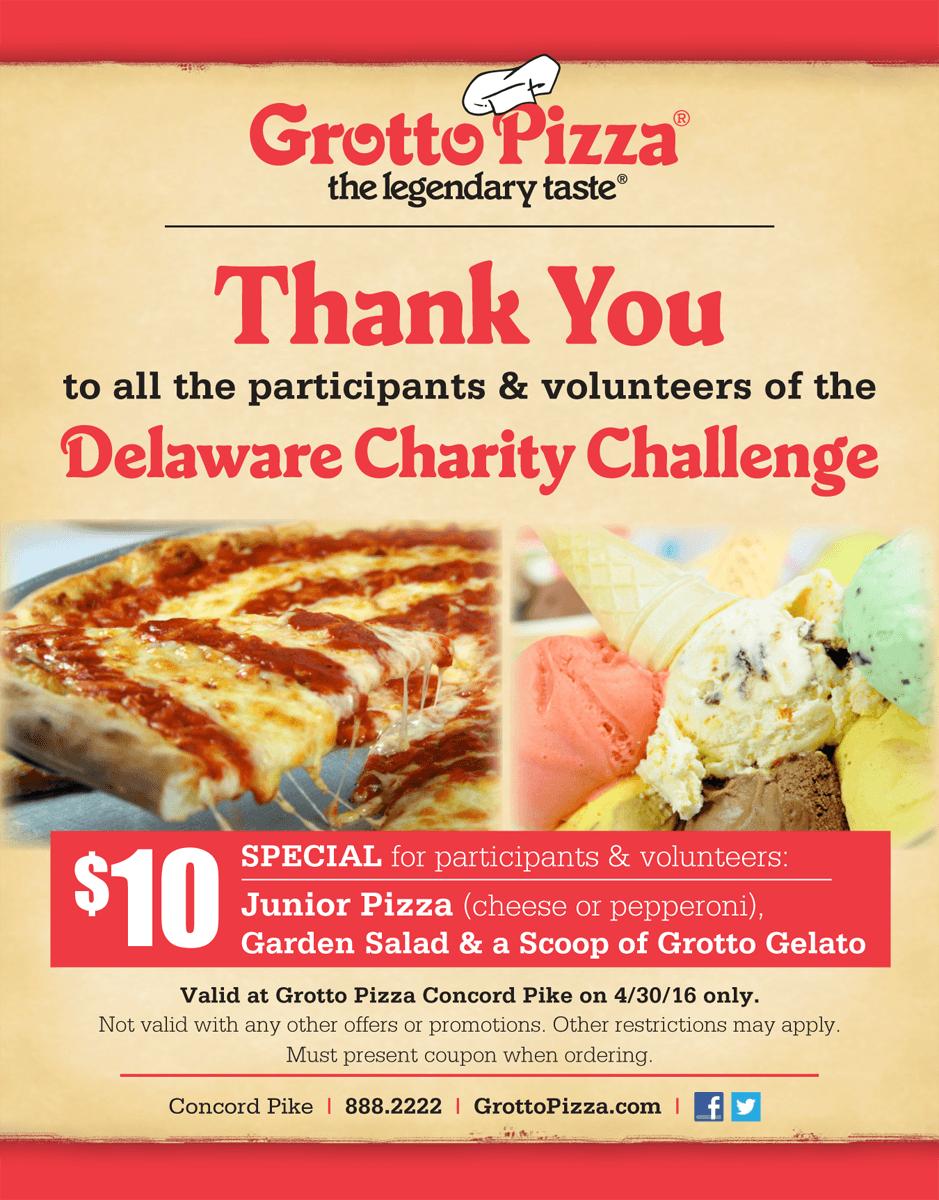 Grotto Pizza is one of our Area Restaurant Supporters for the Spring Delaware Charity Challenge this year.
