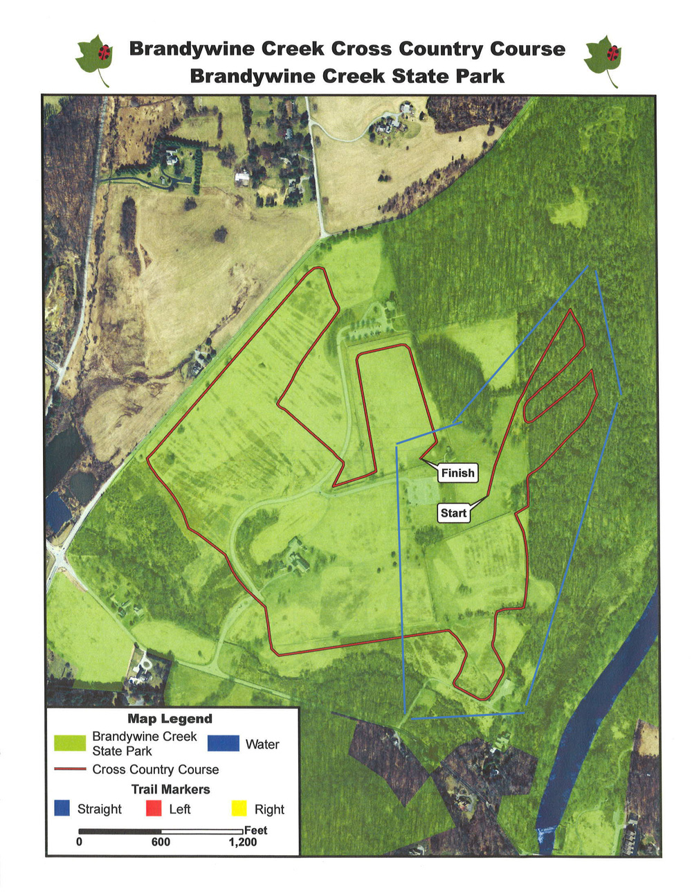 Another map of the Brandywine Creek State Park cross country course. This is the site of the Delaware high school state championships every other year, so it's one of the tougher running trails around.