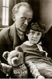 A.A. Milne, his son Christopher Robin, and the original Winnie-the-Pooh