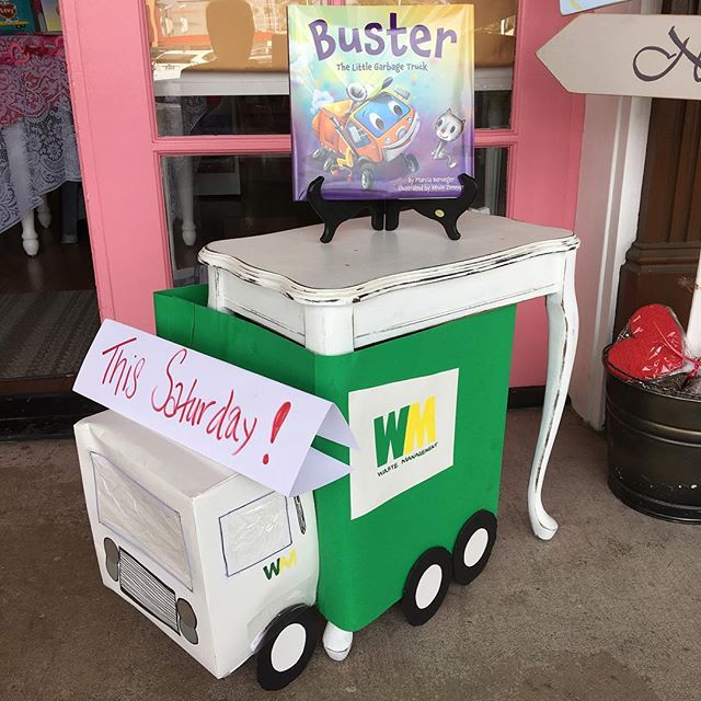 Coming up THIS SATURDAY—Garbage Truck Storytime!  Kids can have their pictures taken with a real garbage man and sit in the cab of a real garbage truck and participate with the author in the reading of a darling garbage truck story!  No need to call—just show up at 11:00. #garbagetruckstorytime #wastemanagementgarbagetrucks #marciaberneger #busterthelittlegarbagetruck #onceuponastorybook #becausestoriesinspireandbooksmakememories