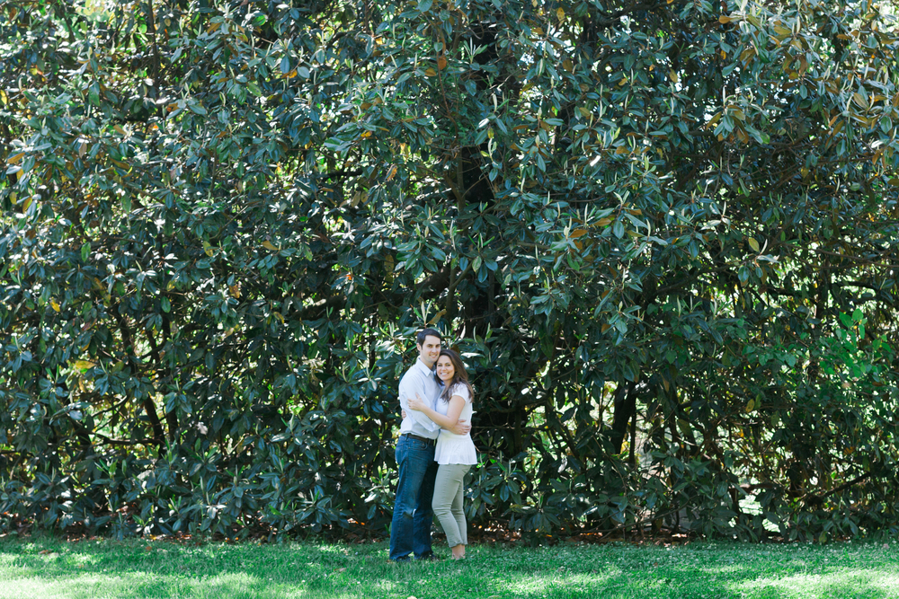 The massive magnolia trees in the park make a perfect temporary rain shelter should you ever need one...these love birds discovered this just after Logan put a ring on it a few months ago.