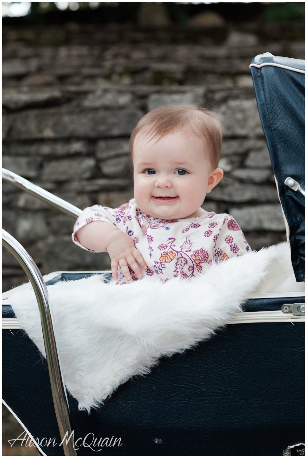 She wasn't totally into the pram. But she looks like she is here!