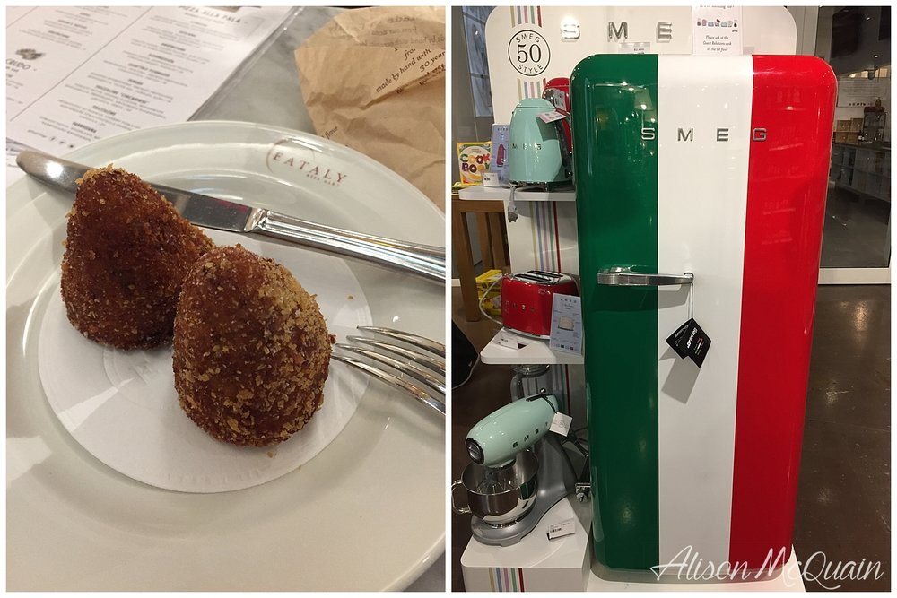 My date night at Eataly while the hubs had a work dinner...fried risotto balls for dinner and my dream fridge.