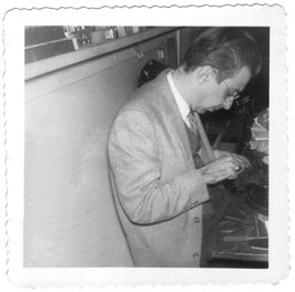My grandfather Pasquale Romeo at his bench at Romeo's Jewelry Store, circa 1956.