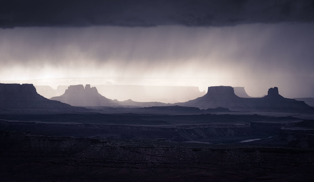 A storm soaks the desert in Canyonlands National Park