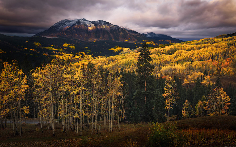 A sliver of light illuminates East Beckwith Mountain on Kebler Pass
