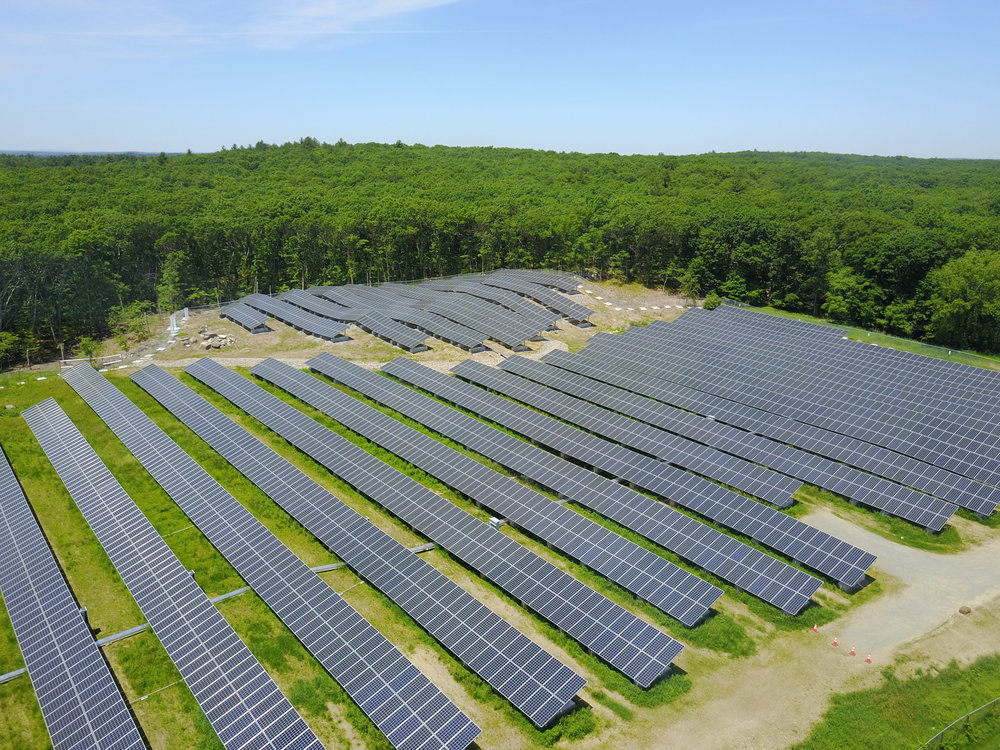 A community solar farm in Dover, MA.