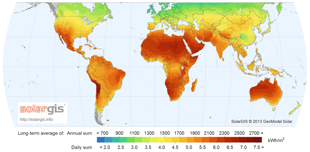 A map of the amount of energy the sun can provide in different areas of the earth. Image Credit: SolarGIS