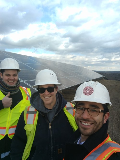 Solstice team members Taro and Sean visit the our solar garden in Lowman, Chemung, NY