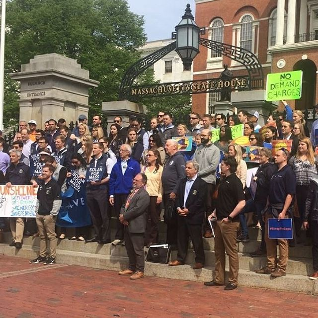 Beautiful day to be out voicing our support for solar at the MA State House! #solarisworking