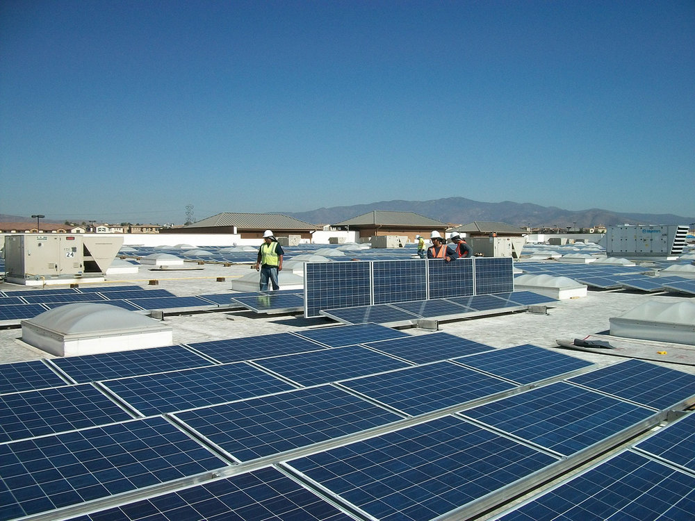 Solar panels on the roof of a Walmart in Chula Vista, California. One of Walmart's broad sustainability goals is to be powered by 100% renewable energy.