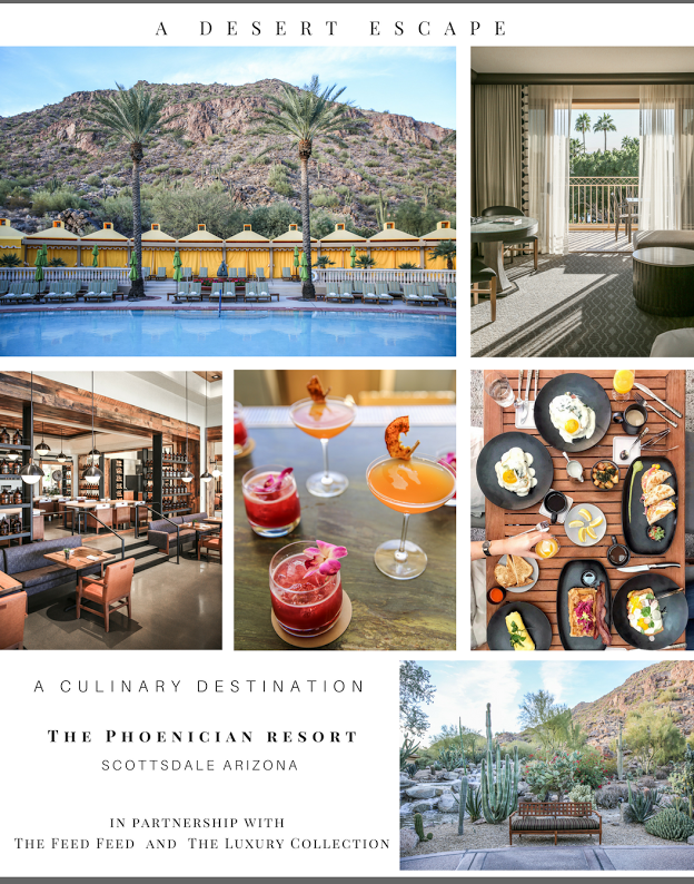 We partnered with  The Feed Feed  and  The Luxury Collection  on a weekend excursion, as we toured the newly remodeled  Phoenician Resort  in Scottsdale Arizona. Between the unique restaurants, massive golf course, luxurious rooms and swimming pools, we would have stayed a whole week if we could. Read on for some of our favorite activities while at the breathtaking property.   Flatbread making - One of our favorite activities at the property was making flat-breads at the newly opened,  Cotton and Rye . We selected our favorite toppings and popped them in the oven while sampling the restaurants staple appetizers and cocktails. They're also home to one of the best brunches in Scottsdale, with views overlooking the pools.   A Hike up Camelback - Is any trip to the Phoenix area complete without a hike? We don't think so, which is why we made sure to wake up early and experience the 360 degree desert views from the top -well, close. The hike entrance was directly behind the resort, just a 10 minute walk!  Cocktail Class - After our hike, we were clearly deserving of one of the Phoenician's famous drinks. The resort took it a step a further and let us learn from the pro behind the bar. Award winning bartender, Robert Porter is in charge of the cocktail program at The Phoenician's upstairs bar,  The Thirsty Camel . He showed us how to make a magnificent, red pepper infused mescal drink, as well as a fruity, gin cocktail.    The Many Pools - We had to test the water, and it was perfect. Our only struggle was deciding between the waterslide and the relaxing, adults only pool. Complete with Cabanas and hot tubs, you can enjoy this luxury in any weather.   A room with a view: The property's newly renovated interiors will have you never want to leave your room. With a private patio overlooking the desert landscape, a luxurious marble bath and separate shower, as well as the special perks you won't expect; like Italian linens and turn-down service with culinary treats.