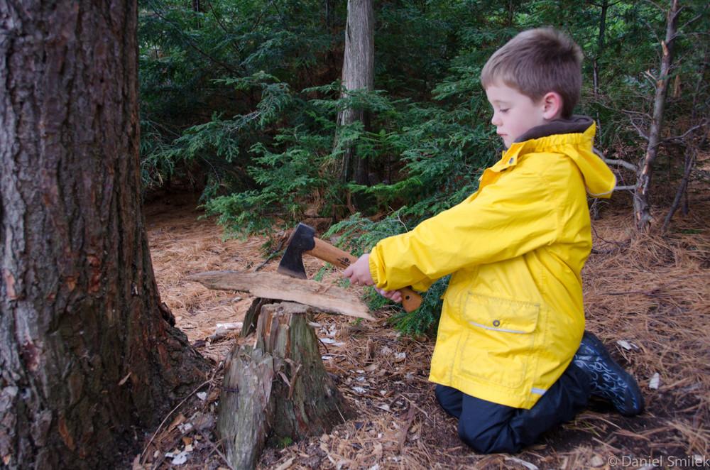 Luke chopping wood.