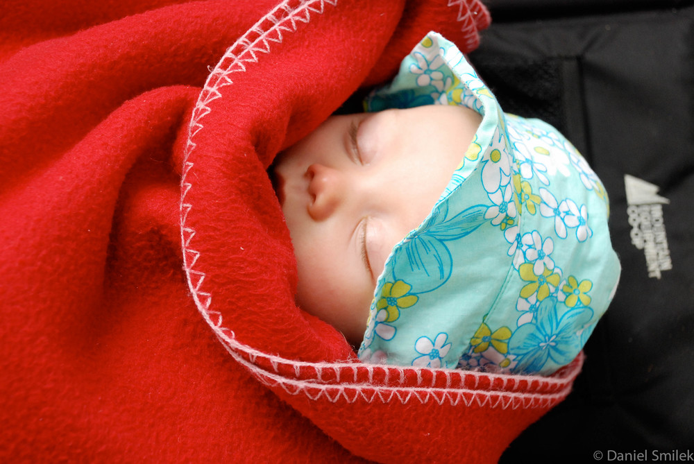 Baby Eva napping in the backcountry.