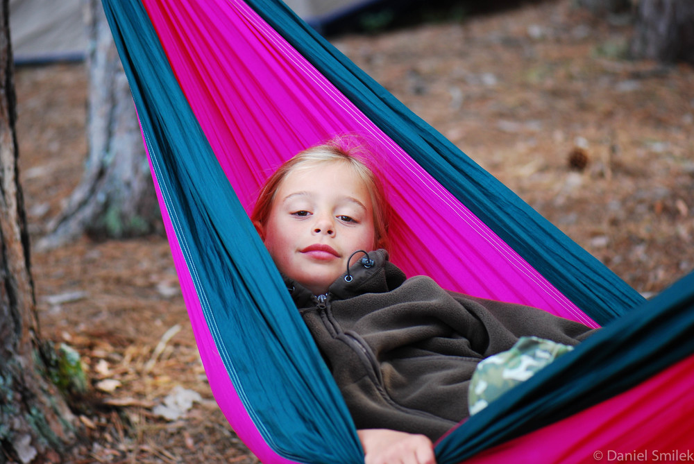 Cousin Anna lounging in the hammock on a 2010 backcountry trip.