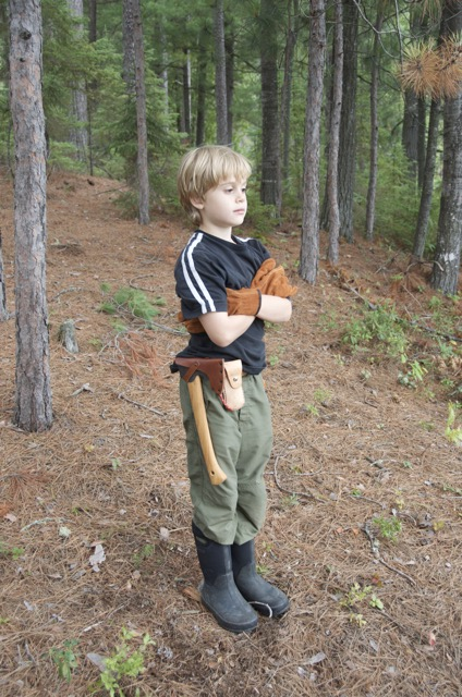 Josh with his favourite piece of gear - the  Gränsfors  Bruk Small Forest Axe