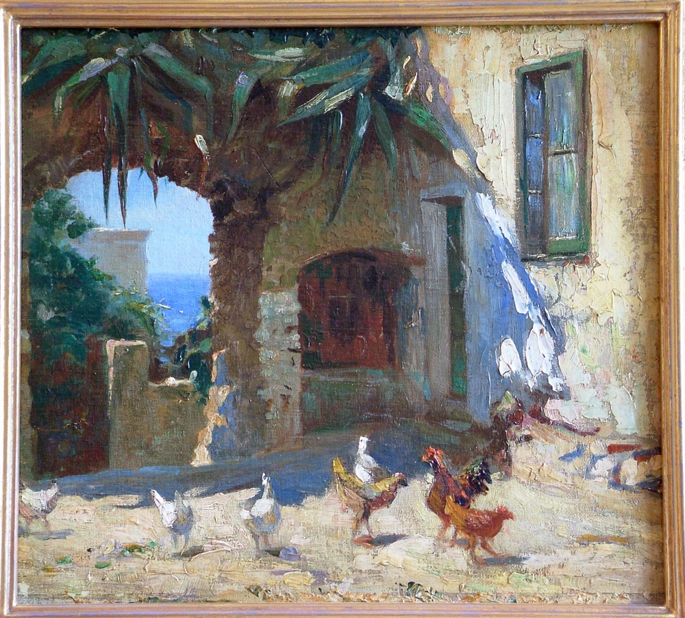 Camillo Tango oil painting of Chickens in the Yard