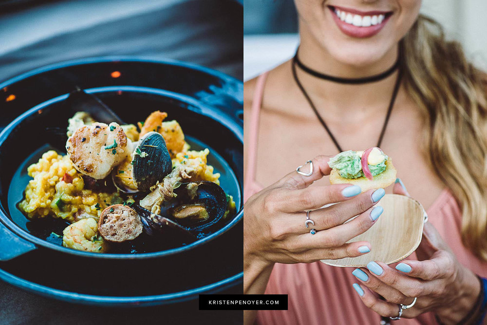 Paella dish and arepa canapes at the Sawgrass Marriott's 619 Ocean View beachside restaurant