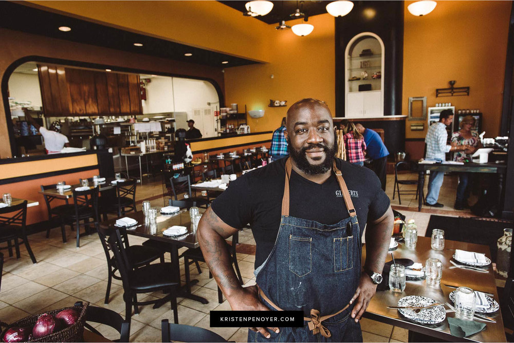 Portrait of Chef Kenny Gilbert at Gilbert's Social in Jacksonville, Florida.