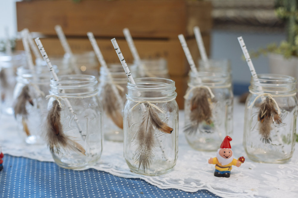 mason jar with real feathers