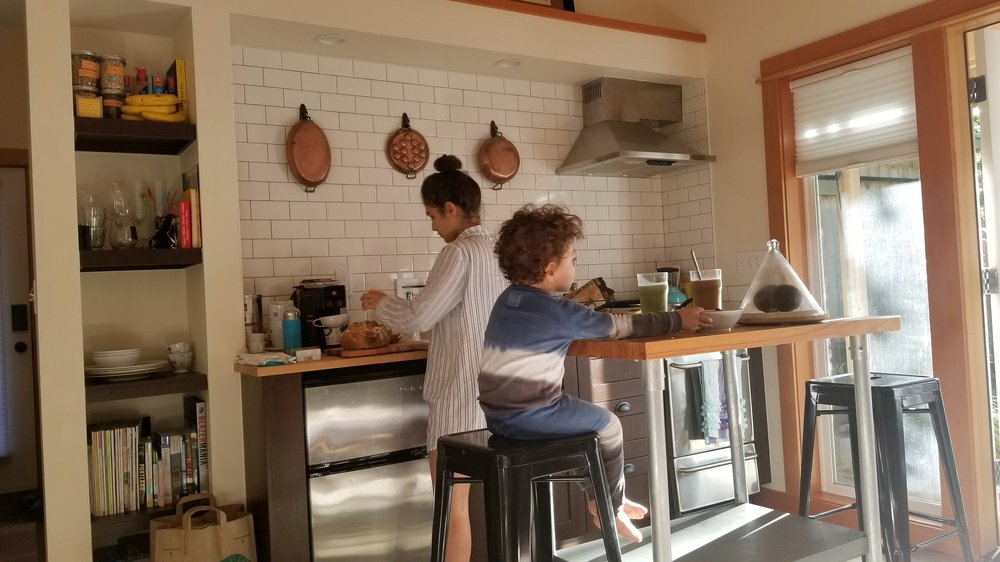 Cooking brunch at our airbnb Portland.