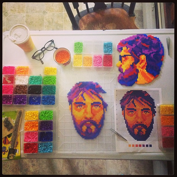 Sam looks on as Will is born.  #dc #band #fellowcreatures #perler #beads #perlerbeads #perlerbeadart #diy #wip #lowfi #hifi #band #indie #fineart #illustration #ilikethingsincolororder #crafts #churchofcraft #synstyling
