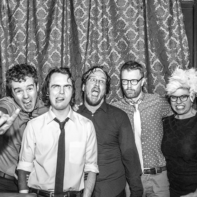 Never not awesome when Uncle Monsterface has anything to do with it. Me and the boys post-album release show.  Photo by #BrandonDorn #unclemonsterface #martystuff #music #indie #rock #lavamen #lava #men #monster #fashion #styling #menswear #necktie #polkadots #stage #show #waystation #waystationBK #HANDMADE #diy #volcano #bw #sockpuppets #metal #supportthearts #synstyling #style
