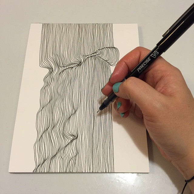 Craft along! Technology brings us together for a  #saturdaynightcraftalong hosted by  @myteaandbrie & @barefootcrafter  #penandink #craft #churchofcraft #diy #lines #linedrawing #bandw #fineart #lineart #rumps #MICA #illustration #ocd #focus #meditation #zen #artislife #nofilter #opart #opticalillusion #abstractart #tothineownselfbetrue #synstyling