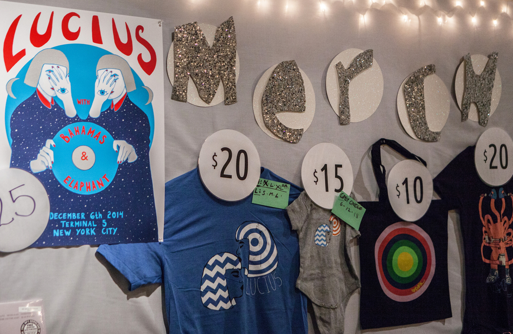 Lucius  // Merch Table Display // Terminal 5 // NY, NY   Merch Table Art Direction // Custom Handmade Signage   Photo by  Austin Nelson
