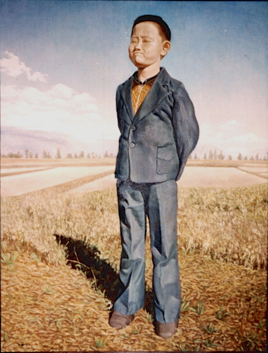 Kid with Suit in a Field