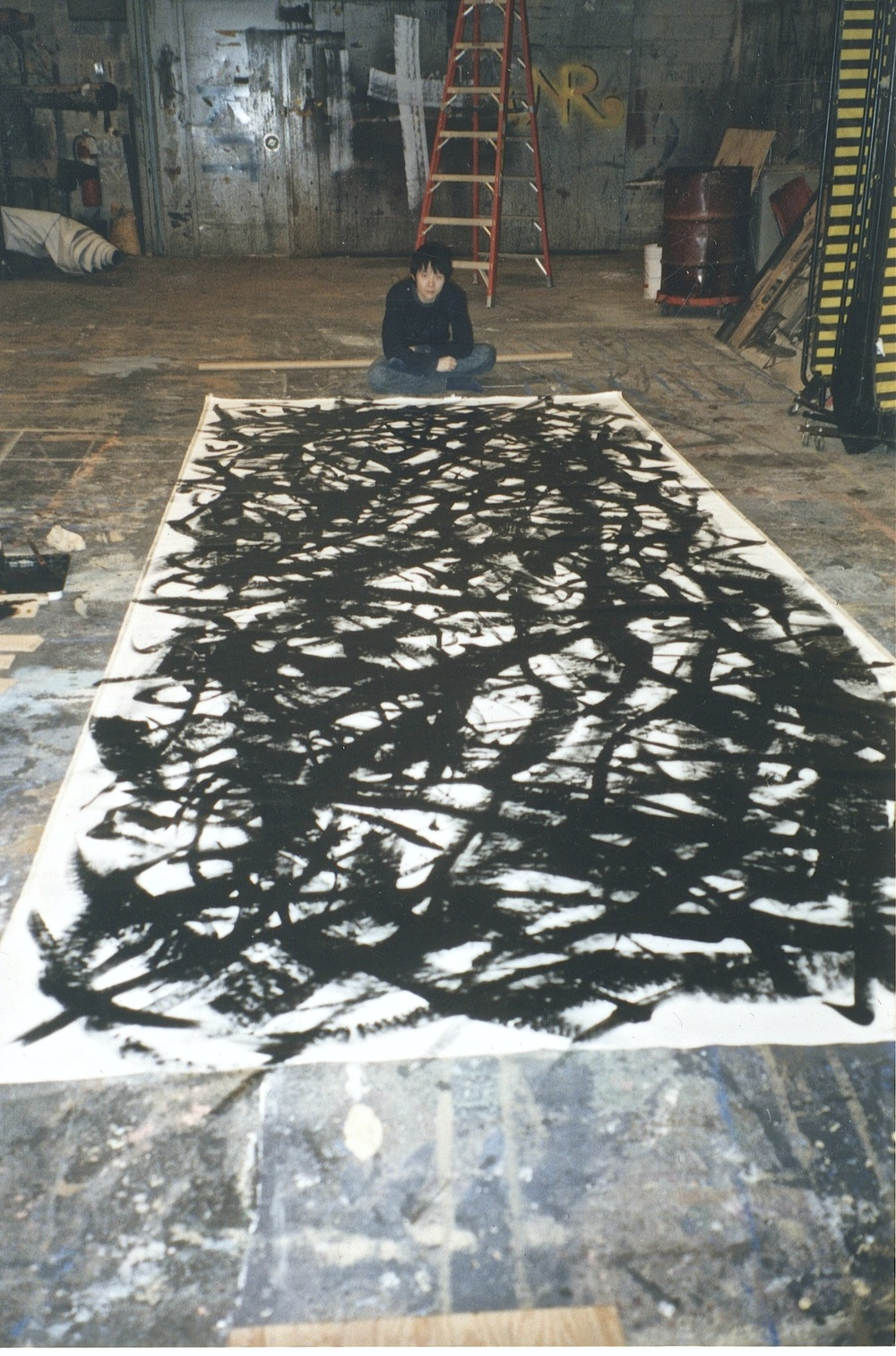 Shen Wei in painting studio