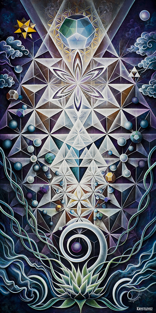 """Sacred Mirror"" acrylic on canvas 24"" x 48"" 2010-11"