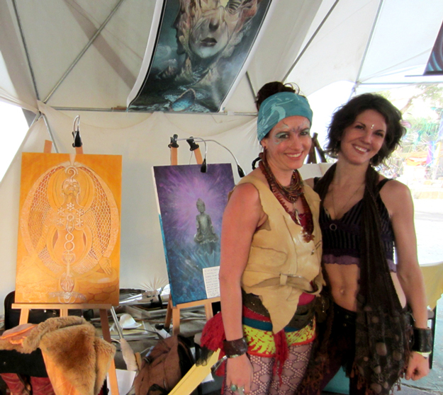 Photograph from Rainbow Serpent 2013 with my cosmic siStar, Melissa Shemanna, who will be presenting her work along with managing the Evolve Gallery!