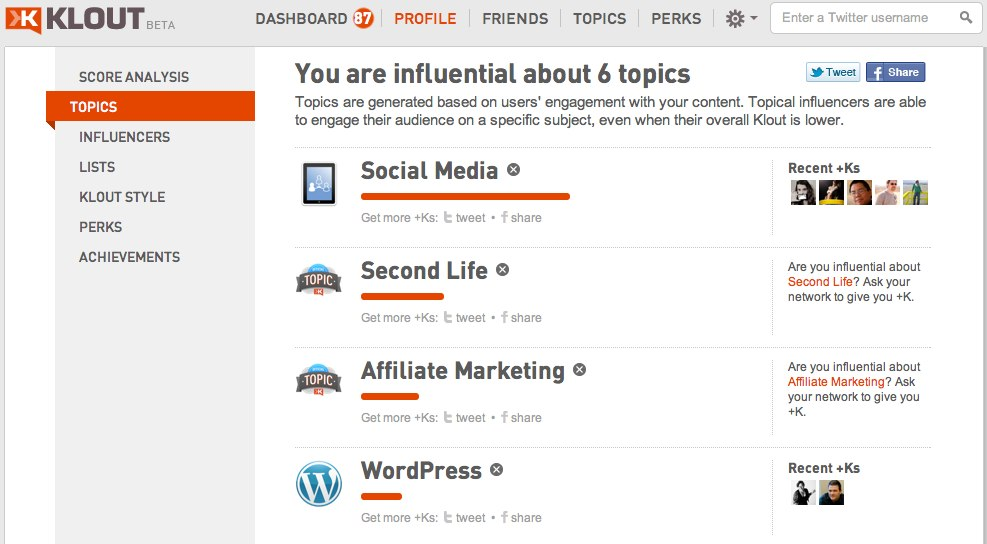 klout post