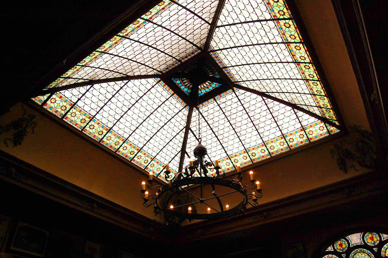 Epic stained glass skylight at Perkeo.