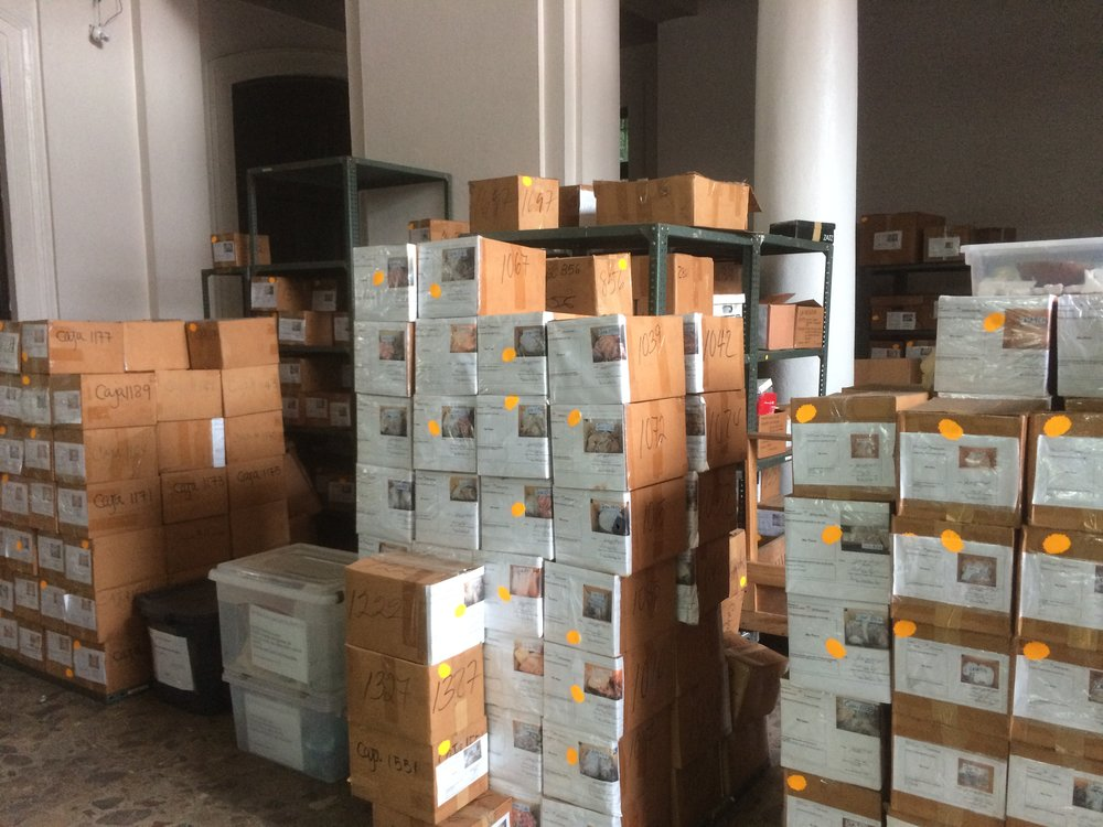 Cajas repletas de las piezas inundan el edificio de la 5 de Mayo.