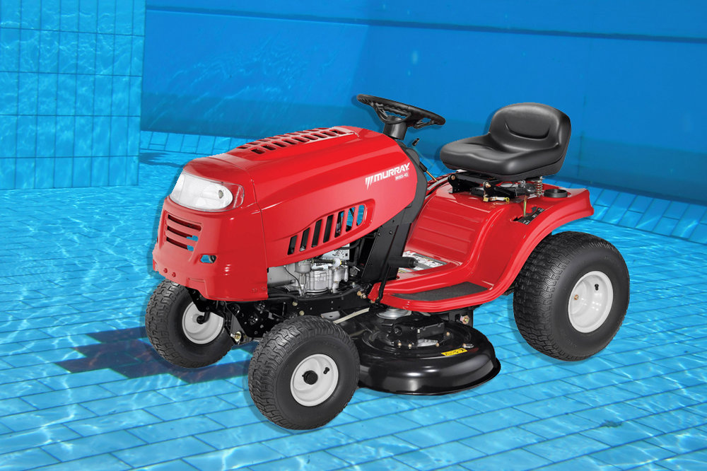 Driving Lawn Mower Underwater Pool