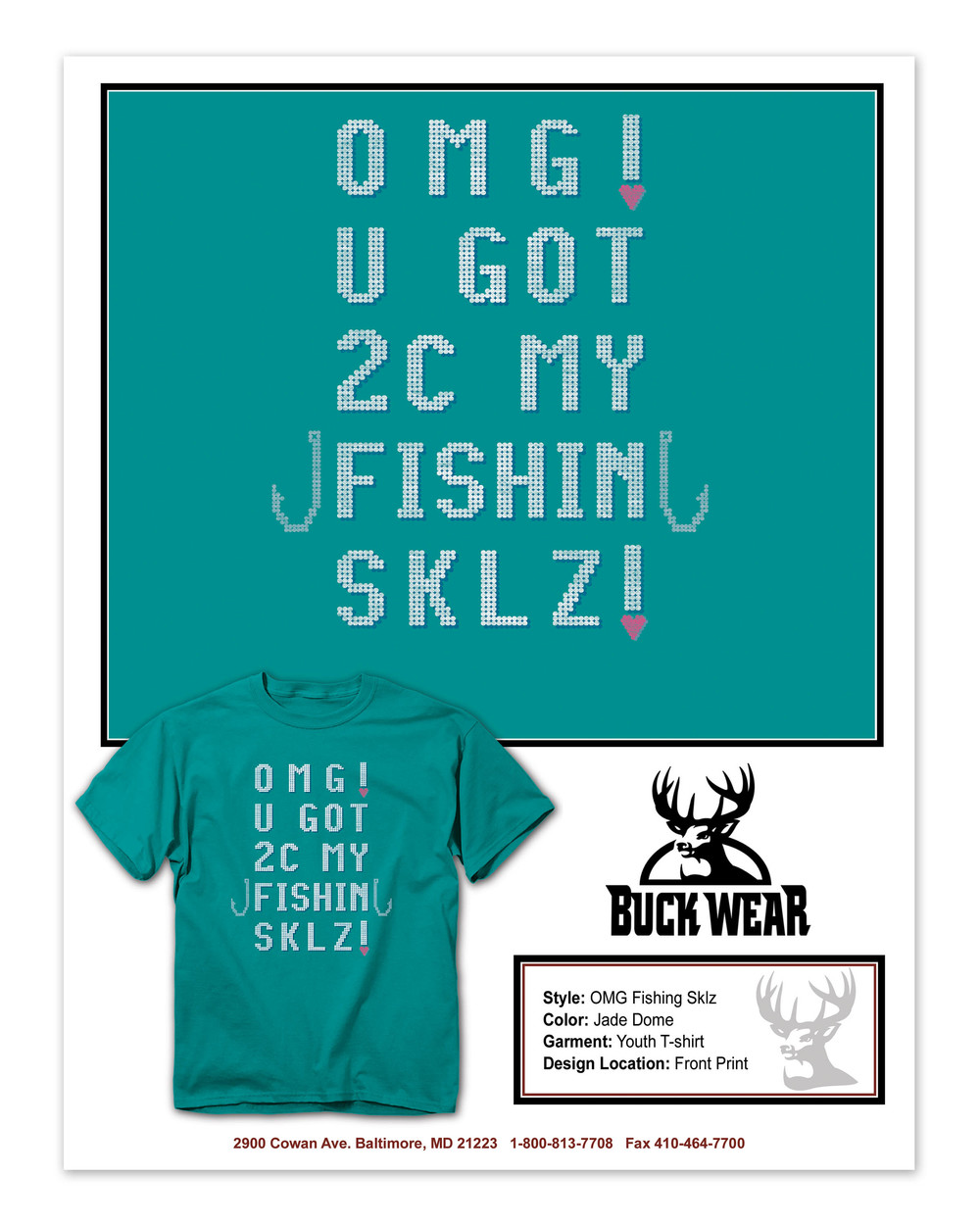 BuckWear Fishin Sklz     Shirt Design