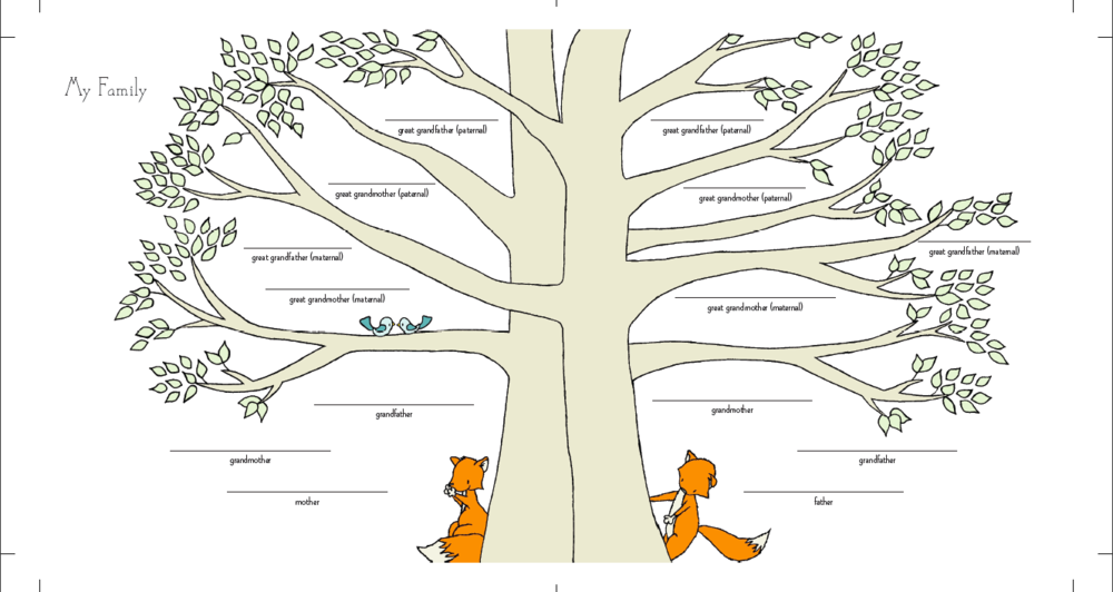 The finished Family Tree illustration. I'm so proud of how amazing this turned out!
